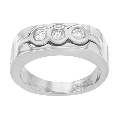 Oro bianco 14K & 0.40Cttw fascia di diamanti da uomo, taglia 8