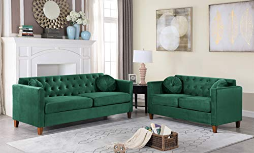 Container Furniture Direct Kitts Upholstered Chesterfield Sofa and Loveseat Set, Green