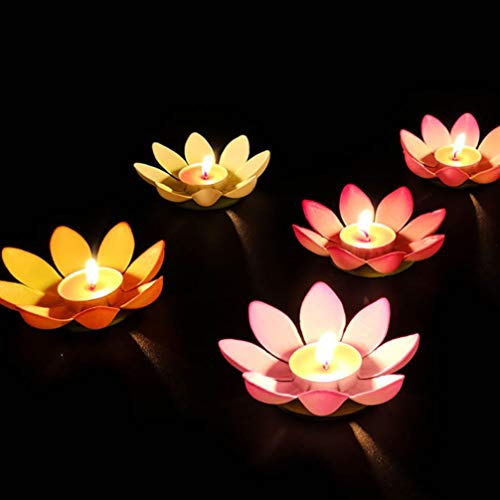 Uonlytech 5 Pcs 12CM Water Floating Candle Lanterns, Floating Lotus Lights Wishing Lotus Candles Light Pool Decor Flower Lanterns for Festival Birthday Party