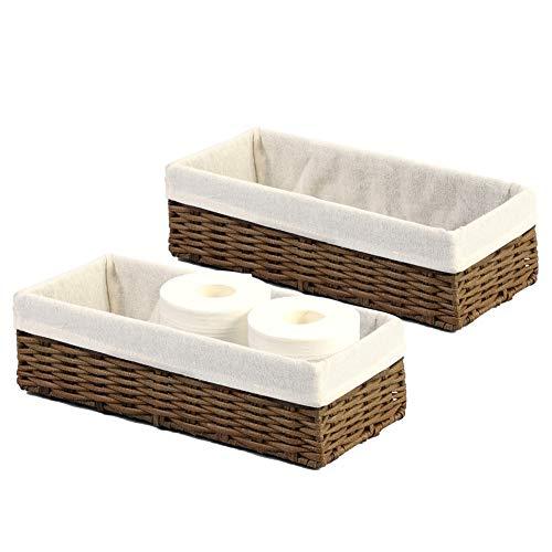 HOSROOME Bathroom Storage Organizer Basket Bin Toilet Paper Basket Storage Basket for Toilet Tank Top Decorative Basketfor Closet, Bedroom, Bathroom, Entryway, Office(Set of 2,Brown