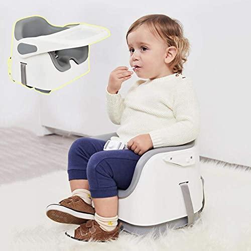 BBZZ Silla alta, trona portátil 3 en 1, asiento elevador para niños, silla de alimentación de bebé con bandeja, gris