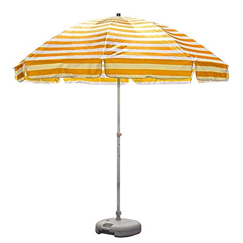 MLTYQ 8.2 Foot Heavy Duty Stripes Beach Umbrella, 8.2' Outdoor Umbrella with Sturdy Pole and 8 Ribs, for Beach Patio Garden (Color : Yellow and white stripes)