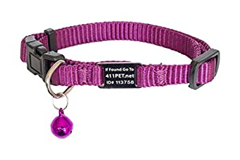 SmartBuckle Breakaway Cat Collar with Bell and Pet ID Tag Free Online Profile Multiple Owner Names Contacts and Details About Cats Personality and Medical Needs Adjustable Nylon No Monthly Fees