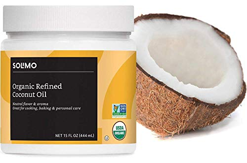 Amazon Brand - Solimo Organic Coconut Oil, Refined, Non-GMO, 15 ounce