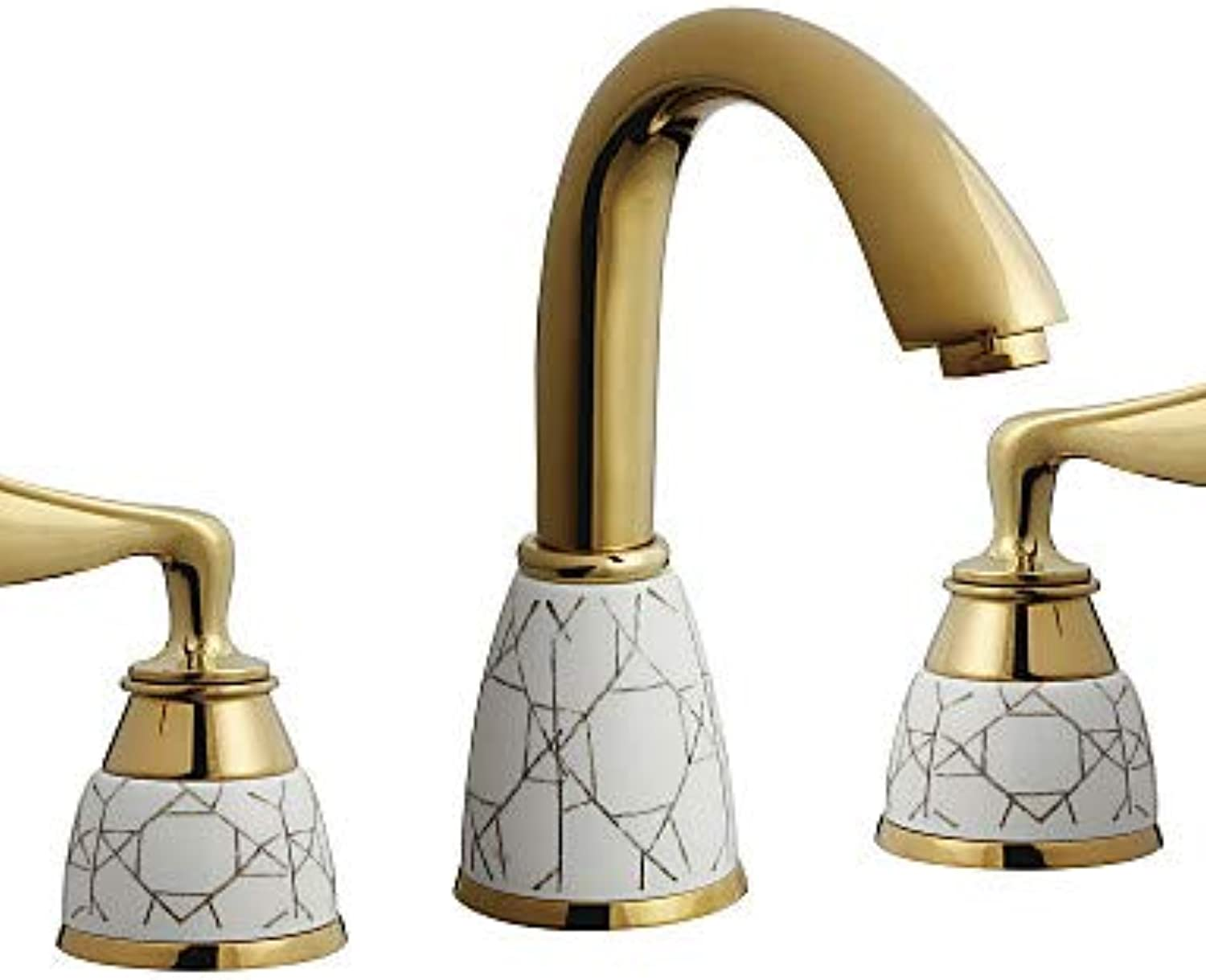 Mainstream home LPZSQ Tap Antique Ti-PVD Finish Brass Three Hole Two Handle Bathroom Sink Faucet  467