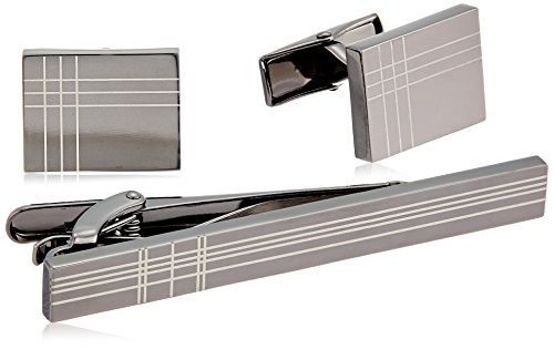 Stacy Adams Men's Gunmetal Cuff Link and Tie Bar Set, Sliver, One Size