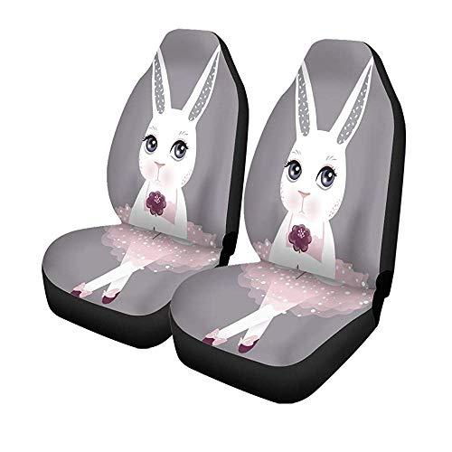 Set van 2 autostoelhoezen schattig Bunny in roze jurk Frohe Pasen Cartoon Rabbit Universal auto voorstoelen protector 14-17IN