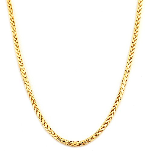 """Mr. Bling 10K Yellow Gold 2.5mm 24"""" Wheat, Palm Chain Necklace with Lobster Lock"""