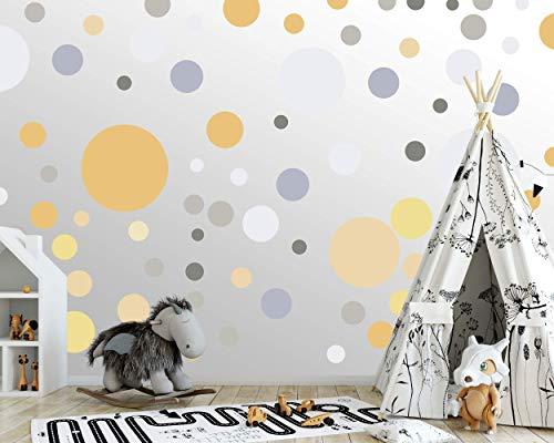 100 wandtattoo Punkte wandsticker Kreise fürs Kinderzimmer - Set Farben, Dots zum Kleben Wandaufkleber Wanddeko - Wandfolie, Kleinkinder, Erstausstattung auf Rauhfaser Golgelb - Champagner - Steingrau