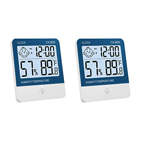 eSynic 2 pcs Termómetro Higrómetro Digital Medidor de Temperatura y Humedad Reloj + Luz de Fondo con Indicador de Confort para Interior y Exterior Habitación Casa Oficina Ambiente