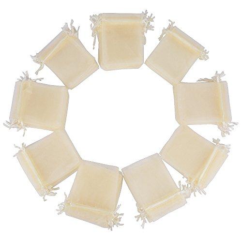 (10 * 12cm) 100pz Sacchetti Bustine Buste in Organza Confetti Portaconfetti Regalo Bomboniere Matrimonio Battesimo Compleanno Festa Confezione Gioielli (Avorio)