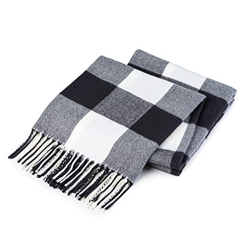 Buffalo Plaid Throw Blanket for Couch - Farmhouse Throw with Check Pattern - Soft Woven with Decorative Fringe - Lightweight for Bed, Sofa, Chair, Office, Outdoor - 50 x 60 in. (Black)