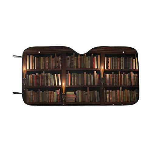 LLZQJ-DAA Mysterieuze Bibliotheek met Kaars Verlichting Auto Zonnekap Voorruit Zonneschermen Universele Fit, Blok Zon UV en Warmte S Meerkleurig