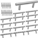 Tiradores de Armario de Acero Inoxidable, DBAILY 15pcs Perillas de Cajón Perillas Diseño en T para Puertas Barras Cocina Armarios Cajones Dormitorio Muebles (10*64*100mm) (plata)