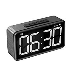 Alarm Clock,Digital Alarm Clocks for Bedrooms with Adjustable Brightness Dimmer,6'' LED Screen Display,Snooze,12/24Hr,Easy Electric Beside Clock with Adapter,Wood Grain Desk Clock for Kids and Adults