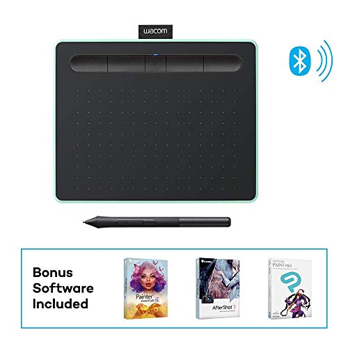 "Wacom Intuos Wireless Graphics Drawing Tablet with 3 Bonus Software Included, 7.9"" x 6.3"", Black with Pistachio Accent (CTL4100WLE0) (Renewed)"