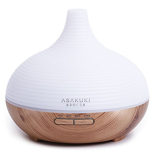 ASAKUKI 300ML Premium, Essential Oil Diffuser, Quiet 5-In-1 Humidifier, Natural Home Fragrance Diffuser with 7 LED Color Changing Light …