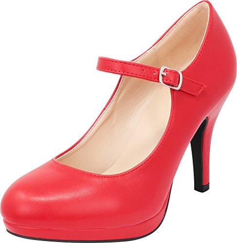 Cambridge Select Women's Closed Round Toe Mary Jane Buckled Strap Platform High Heel Pump,9 B(M) US,Red PU