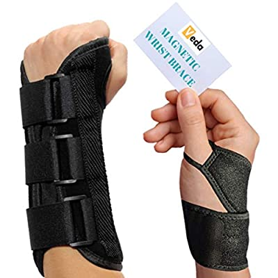 VEDA Wrist Splint and Magnetic Wrist Braces Hand Compression Support for MEN Women Carpel Tunnel, Tendinitis, Bowling, Sports Injuries Pain Relief Removable Splint Universal Ergonomic Fit (RIGHT HAND)