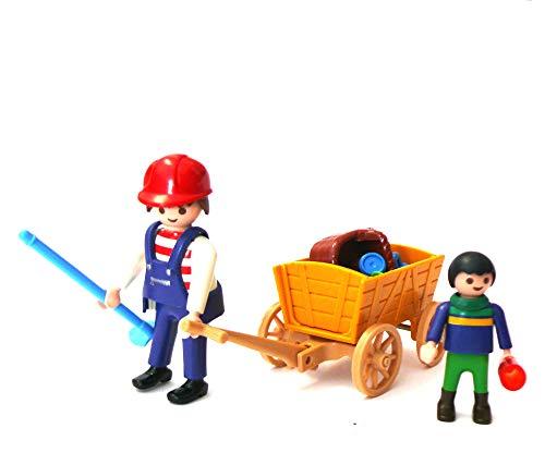 playmobil ® Mann mit Kind und Bollerwagen Wagen