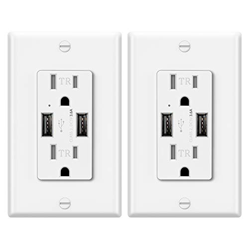 2 Pack - ELECTECK UL 3.6A USB Wall Outlet, 15A Tamper-Resistant Receptacle with Dual Type-A Charging Ports, Stable Wall Charger, White