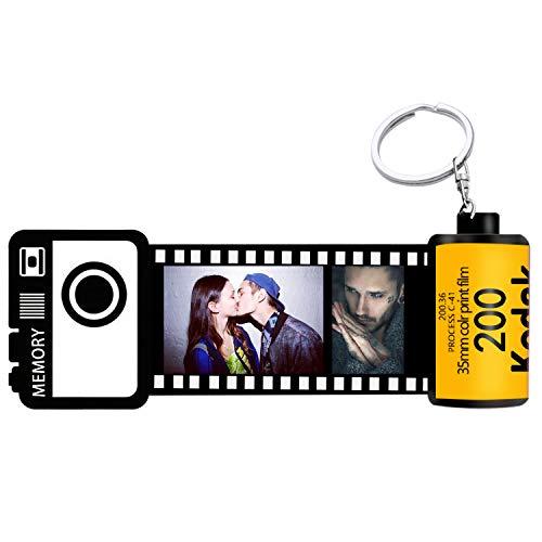 Schlüsselanhänger mit Foto, Keychain Film roll, personalisierte Geschenke, (orangegelb-15 Fotos)