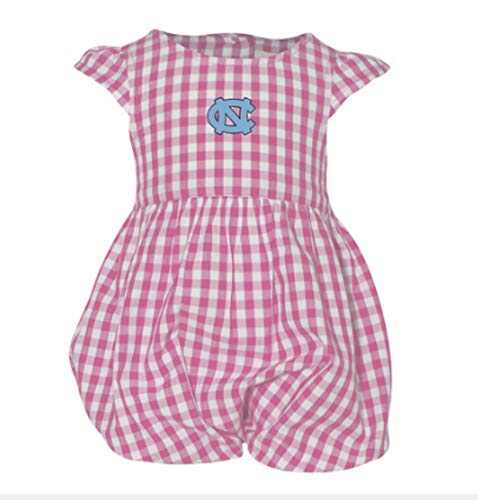 Garb UNC Baby Dress Onesie in Pink and White Gingham Fan Shop Baby Clothing Carolina Tar Heels