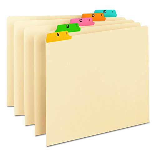 Smead Heavyweight File Guides, Multi-Colored Fused Poly 1/5-Cut Tab (A-Z), Letter Size, Manila, Set of 25 (50180)