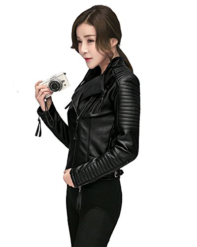LY VAREY LIN Fitaylor Women's Faux Leather Biker Jacket Slim Short Coat Zipper Moto Jackets (S, Black)