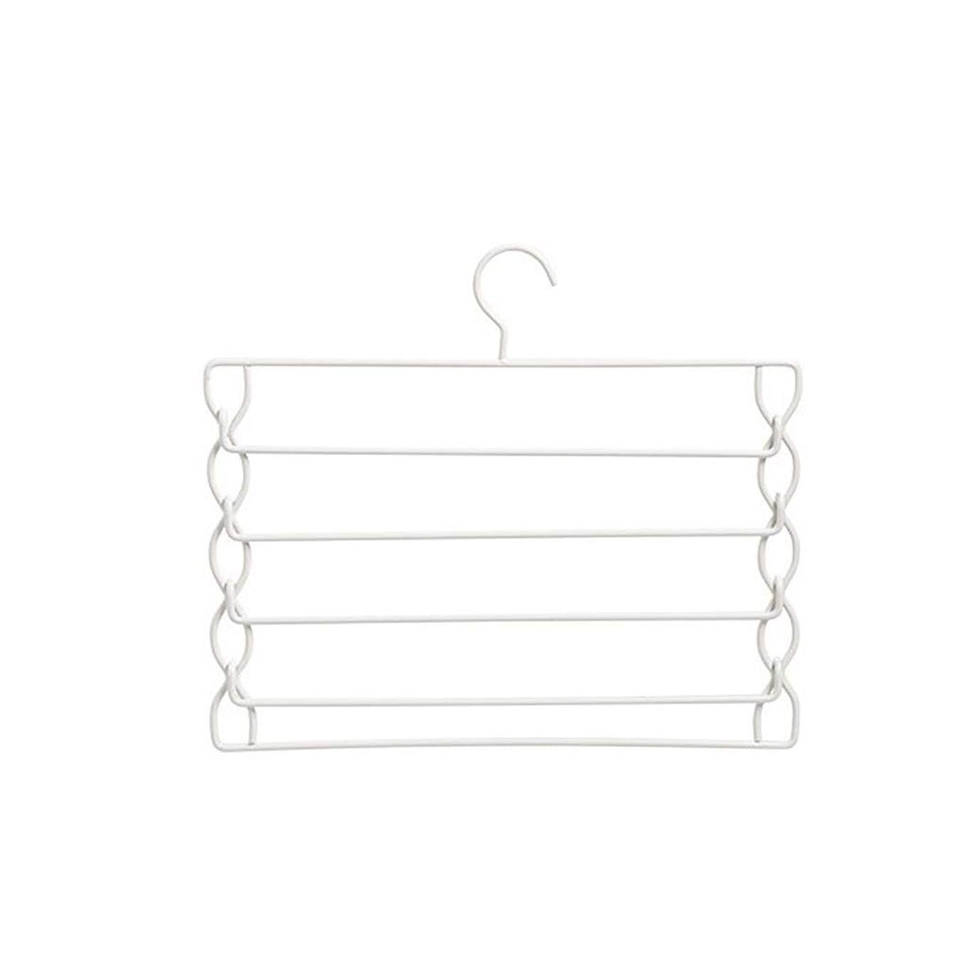 昇進受益者弁護パンツハンガー、省スペースの洋服ハンガークローゼット収納オーガナイザー、ノースリップマルチパンツハンガーのジーンズのズボン、スカート、スカーフ (Color : White, Size : 1 pack)