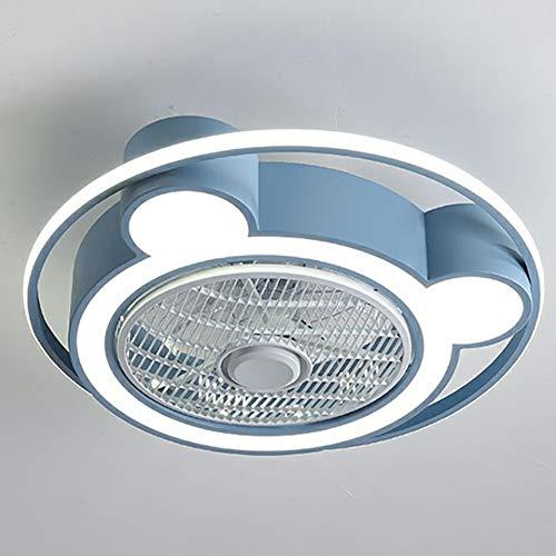 AIDENGJUT Ventilador de techo de oso moderno con luces LED, lámpara de techo rosa con control remoto para niños, niñas, niños, dormitorio, sala de estar (Color : B)