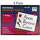 (Pack of 4) Top Flight Primary Tablet 1 Inch Ruling Multi-Method Grade 1 & Kindergarten