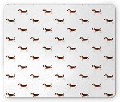 Beagle-Mauspad, Zeichentrick-Hundetier-Spezialrassenzeichnung auf normalem Hintergrund, rechteckiges rutschfestes Gummi-Mauspad, Standardgröße, braunes blasses Zinnoberrot
