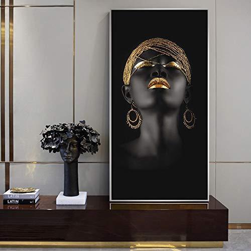 PLjVU Schwarzafrikanische Frauen Ölgemälde Leinwand Kunstdrucke Mädchen mit Goldohrringen Leinwand Kunst Bilder Home Wanddekoration-Rahmenlos40x80cm