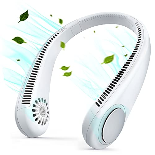 Portable Neck Fan, Rechargeable Hands Free Bladeless Portable Mini Fans, 360° Cooling, Low Noise 3 Speed Hands Free Fan, Hanging Headphone Design, No Hair Twisting,Sports Fan for Indoor & Outdoor