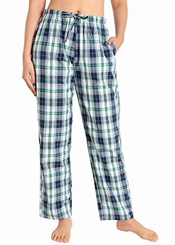 MKHFUW Women's Plaid Pajamas Pants Cotton Lightweight Sleepwear Drawstring Pj Bottoms (2XL,Blue)