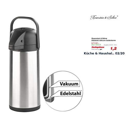 Rosenstein & Söhne Thermokanne: Doppelwandige Vakuum-Isolierkanne mit Pumpsystem, Edelstahl, 3 Liter (Kaffeespender)
