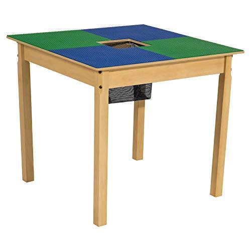 Time-2-Play mesa compatible con Lego, azul y verde, con patas de 24 pulgadas, cuadrada