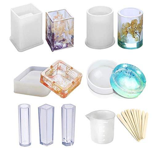 Moule en résine époxy pour fabrication de bijoux/bougies/savon, avec verre doseur en silicone et bâtons en bois style 2