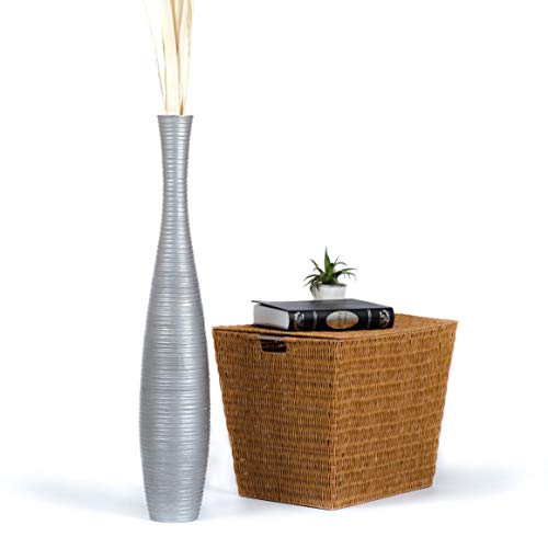 Leewadee Tall Big Floor Standing Vase For Home Decor, 6x36 inches, Wood, silver-coloured