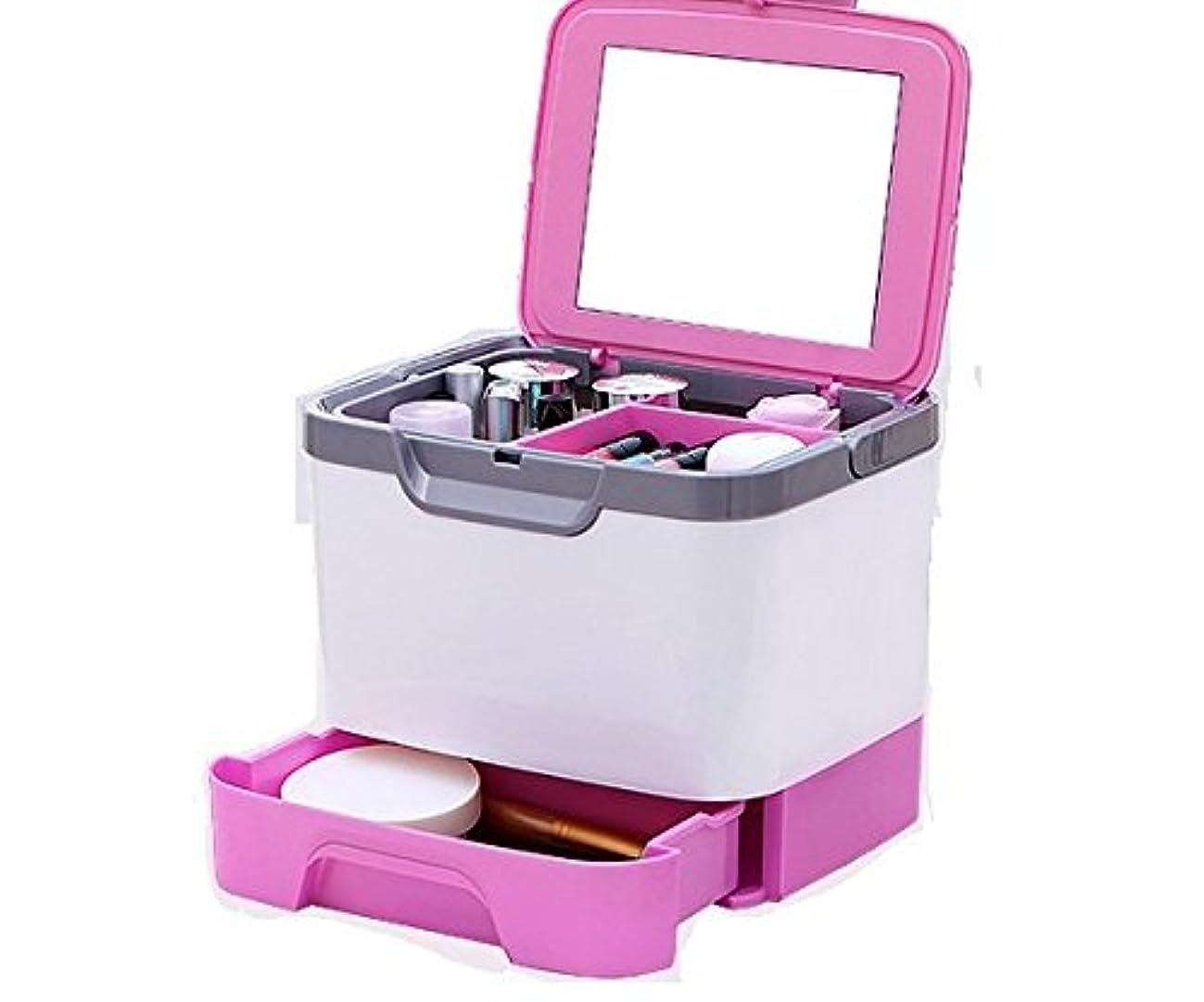 乱闘ミルクあそこメイクボックス 大容量 かわいい 鏡付き プロも納得 コスメの収納に (ピンク、ブルー、グリーン)