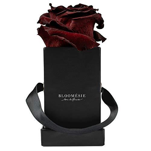 BLOOMÉSIE Duftende Rosenbox mit echten, haltbaren Rosen I 1 Infinity Rose (dunkelrot)...