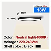 zhixiang LEDシーリングライトブラックシェル12W 18W 24W 32W 4000Kモダンな表面天井ランプ台所の寝室の浴室ランプ (Body Color : 18W 4000K)