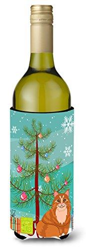 Caroline tesoros del Maine Coon Gato Feliz Árbol de Navidad botella de vino bebida Insulator Hugger, 750ml, Multicolor