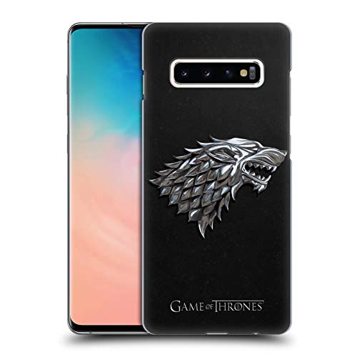 Head Case Designs Officially Licensed HBO Game of Thrones Silver Stark Embossed Sigils Hard Back Case Compatible with Samsung Galaxy S10+ / S10 Plus