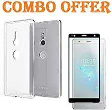 Sbuybay Flexible Clear Transparent Case with Combo 4D Gorilla Tempered Glass for Sony Xperia XZ2 [Black]