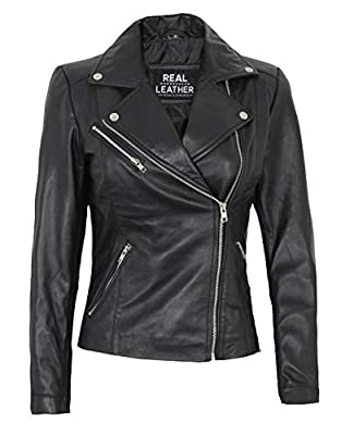 Decrum Black Women Leather Jackets - Cropped Jackets for Women [1301433] | NINFA, M
