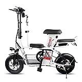 Takmeway Scooter électrique Parent-Enfant Vélo 3 Seat 2 Roues électriques Scooters 400W 48V 20A Voyage Vélo électrique Vélo,Blanc