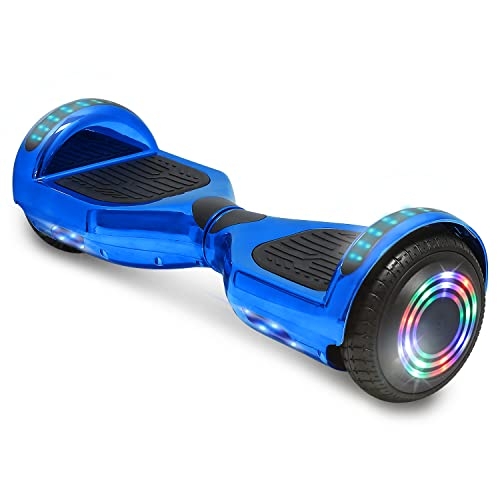 TPS Electric Hoverboard Self Balancing Scooter for Kids and Adults Hover Board with 6.5' Wheels Built-in Bluetooth Speaker Bright LED Lights UL2272 Certified (Chrome Blue)