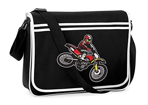 Druckerlebnis24 Schultertasche - Springen Enduro Motocross Motorrad - Umhängetasche, geeignet für Schule Uni Laptop Arbeit